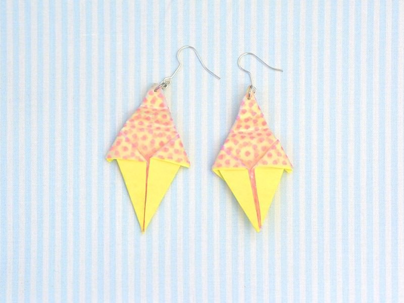 Boucles d'oreilles glace origami