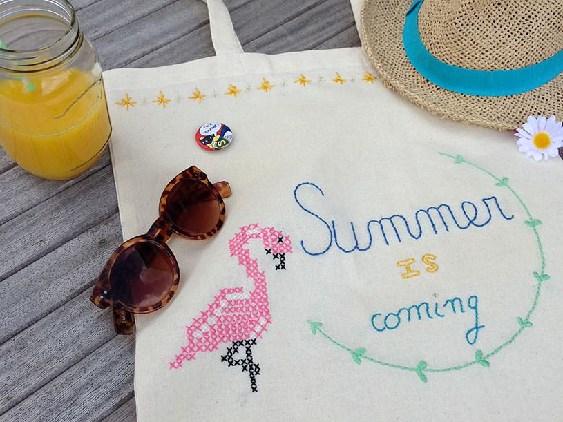 "Le tote bag brodé ""summer"""