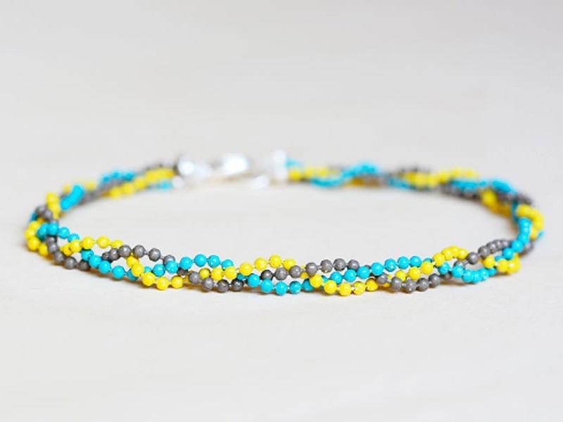 Bracelet chaîne bille tressée