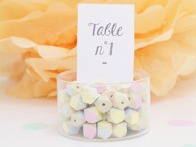 Numéro de table pastel