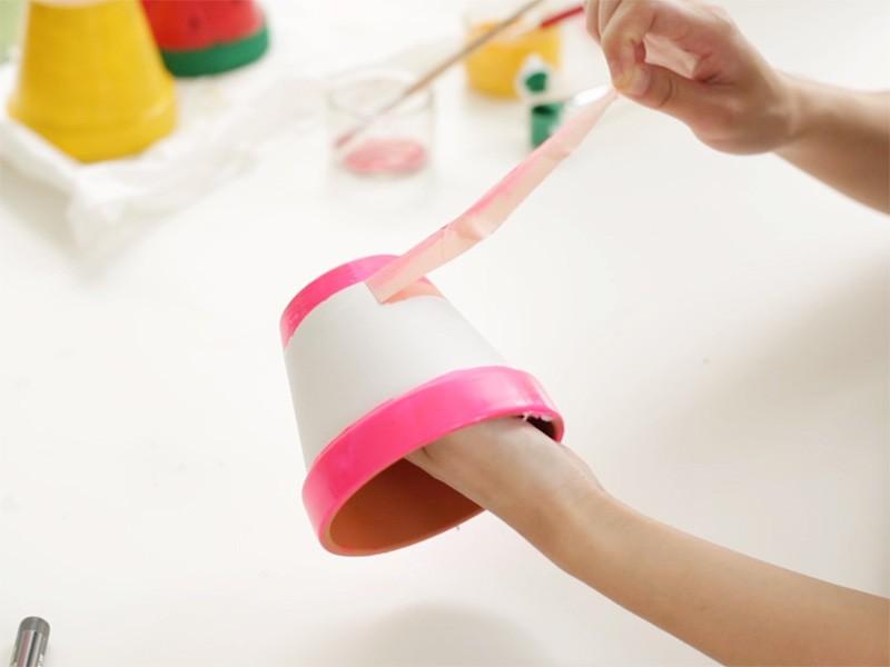 Une fois la peinture sèche, enlever le Masking-Tape