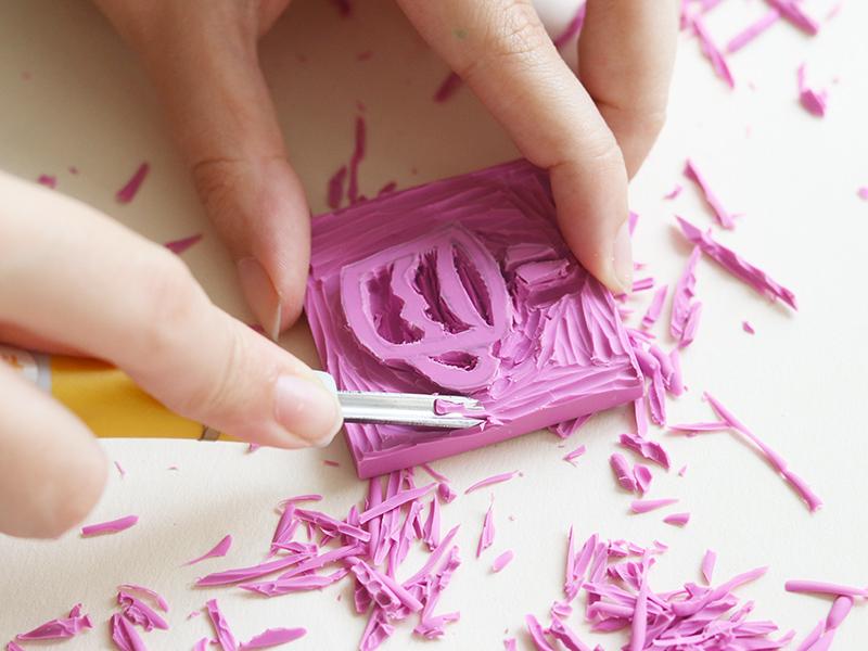 Votre tampon doit être creusé suffisamment tout autour pour que le motif ressorte bien.