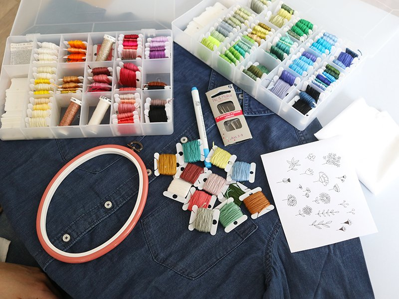 Choisissez les couleurs de fils de coton qui vont vous servir pour la broderie des différentes fleurs.