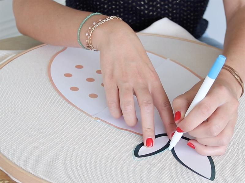 Recopiez votre motif sur la toile à l'aide d'un feutre effaçable à l'eau.