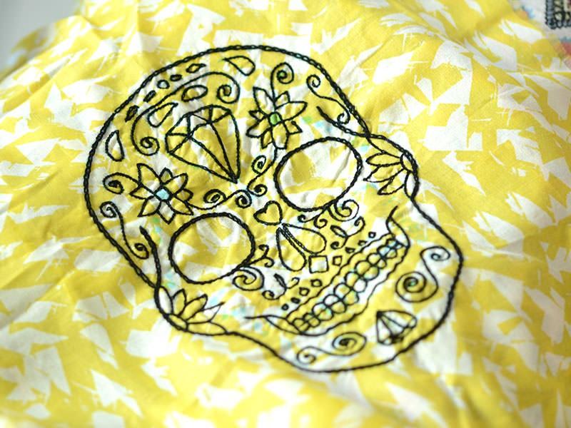 Brodez tout les contours de votre tête de mort mexicaine en point chaînette.