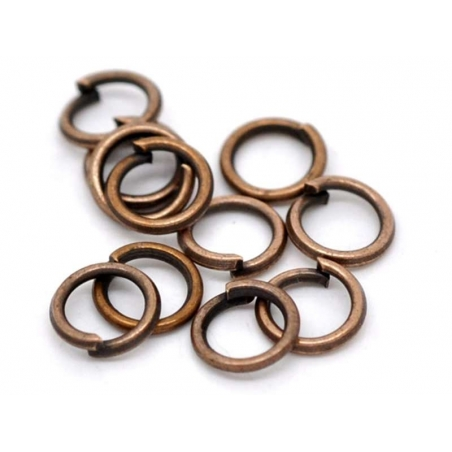 100 anneaux 5 mm cuivrés  - 2