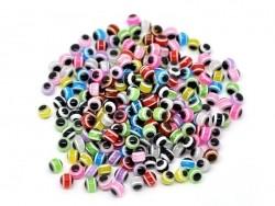 Set mit 20 runden, gestreiften Perlen