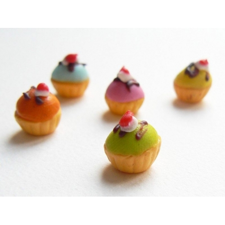 1 cupcake miniature coloré - bleu  - 2