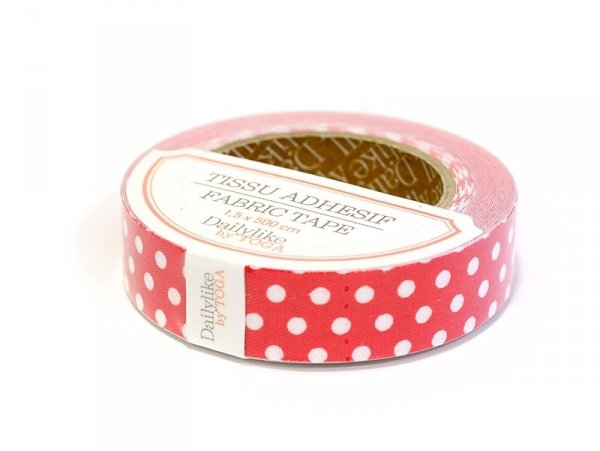Fabric tape- Rouge à pois blancs