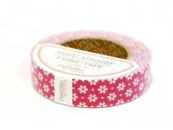 Fabric tape - red with white flowers