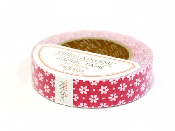 Fabric tape - Rouge à fleurs blanches Toga - 1
