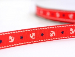 Red grosgrain ribbon (1 m) - anchors - 10 mm