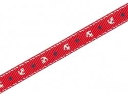 1m ruban gros grain rouge ancres marines - 10 mm