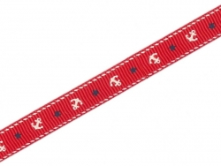 Red grosgrain ribbon (1 m) - anchors - 10 mm