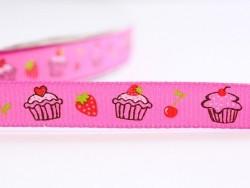 Pink grosgrain ribbon (1 m) - cupcakes and strawberries - 10 mm