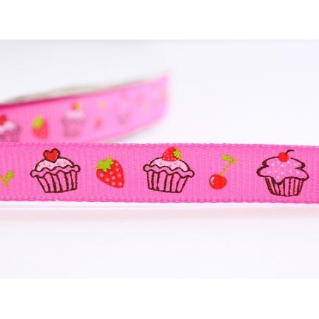 1m ruban gros grain cupcake et fraise rose - 10 mm  - 1