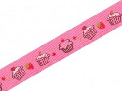 1m ruban gros grain cupcake et fraise rose - 10 mm