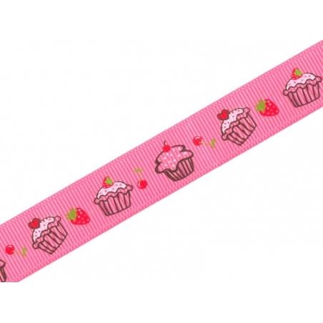1m ruban gros grain cupcake et fraise rose - 10 mm  - 2