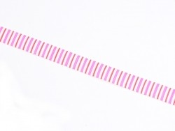 1m ruban gros grain rayures verticales roses et rouges - 10 mm