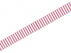 Grosgrain ribbon (1 m) - pink and red vertical stripes - 10 mm