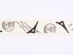 1 m Ripsband mit dem Eiffelturm/Briefstempeln (10 mm)