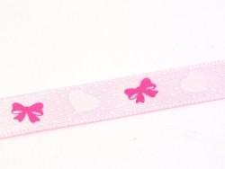 Satin ribbon (1 m) - hearts and bows (9 mm)