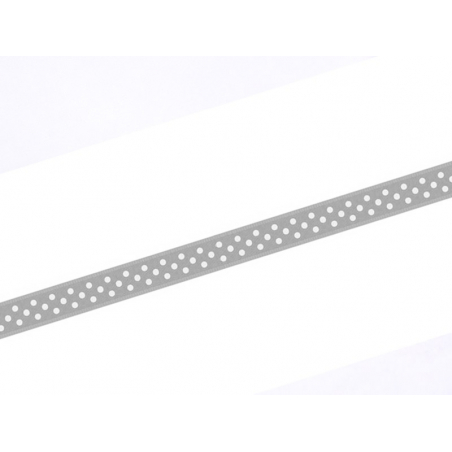 1 m ruban satin gris à pois -  6 mm