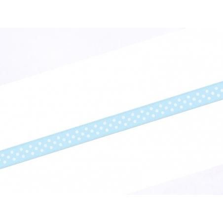 1 m ruban satin bleu à pois -  6 mm