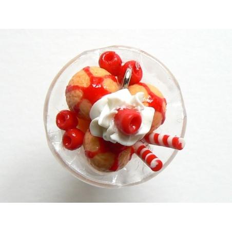 Apricot ice-cream sundae with cherries