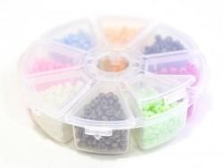 Boite de perles rocaille à 8 compartiments - nacrées L