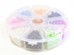Rocaille bead box with 8 compartments - Pearlised (Size M)