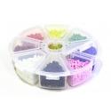Boite de perles rocaille à 8 compartiments - couleurs vives S