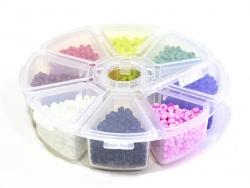 Rocailleperlenbox mit 8 Fächern - leuchtende Farben (Größe M)