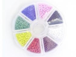 Rocailleperlenbox mit 8 Fächern - leuchtende Farben, Größe M