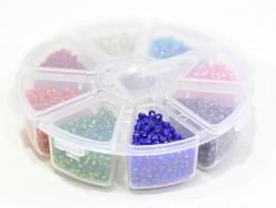 Boite de perles rocaille à 8 compartiments - translucides M