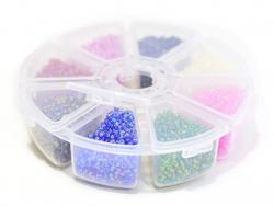Boite de perles rocaille à 8 compartiments - nacrées S