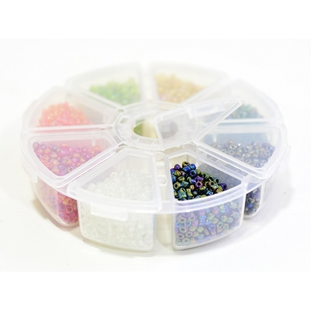 Acheter Boite de perles rocaille à 8 compartiments - translucides nacrées M - 6,99€ en ligne sur La Petite Epicerie - Loisir...
