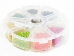 Rocailleperlenbox mit 8 Fächern - durchscheinend und perlmuttfarben (Größe M)