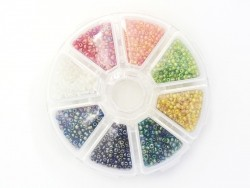Rocaille bead box with 8 compartments - Translucent and pearlised (Size M)