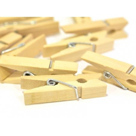 50 mini pinces à linge en bois - naturel