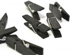50 kleine Holzwäscheklammern - schwarz
