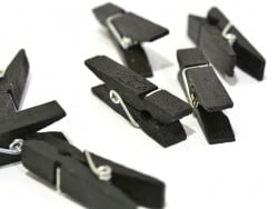 50 mini wooden clothes-pegs - black