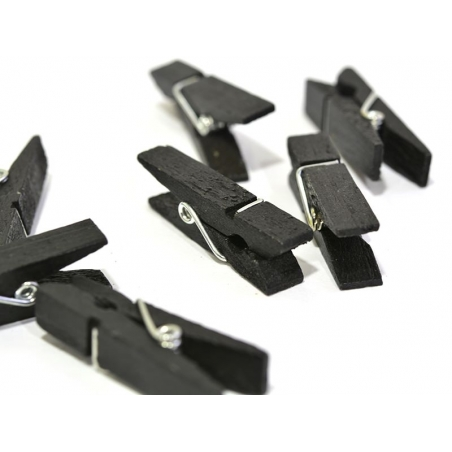 50 mini wooden clothes-pegs - black