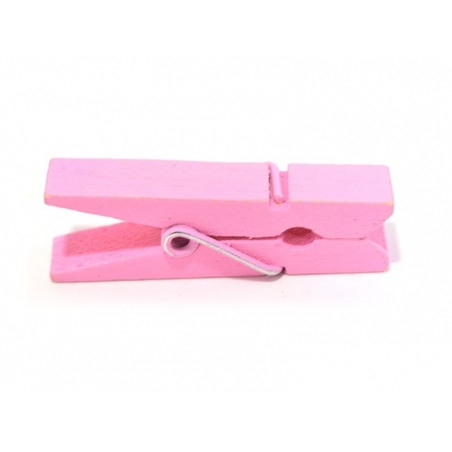 50 mini wooden clothes-pegs - pink