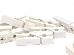 50 mini pinces en bois - blanc