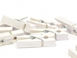 50 small wooden clothes-pegs - white