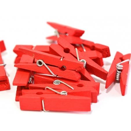 25 mini pinces en bois - rouge