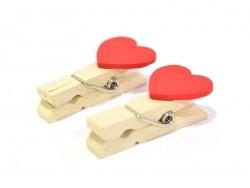 10 mini pinces en bois - coeur rouge