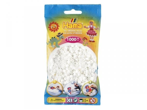 Sachet de 1000 perles HAMA MIDI classiques - blanc 01 Hama - 1