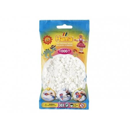 Sachet de 1000 perles HAMA MIDI classiques - blanc 01